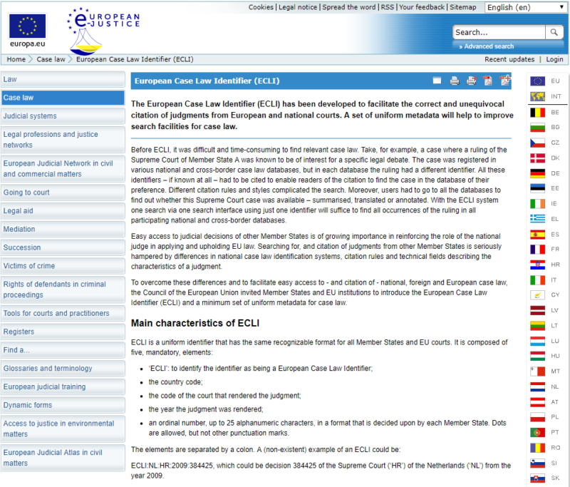 European Case Law Identifier (ECLI)