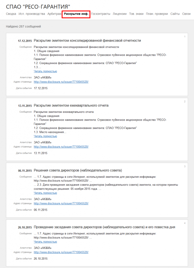 Список сообщений эмитента