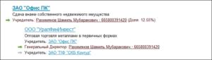 Список связанных организаций в Контур-Фокус