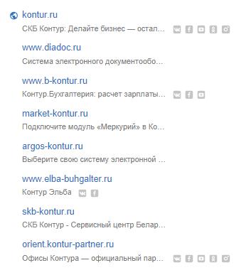 Сайты и социальные сети в Контур Фокус