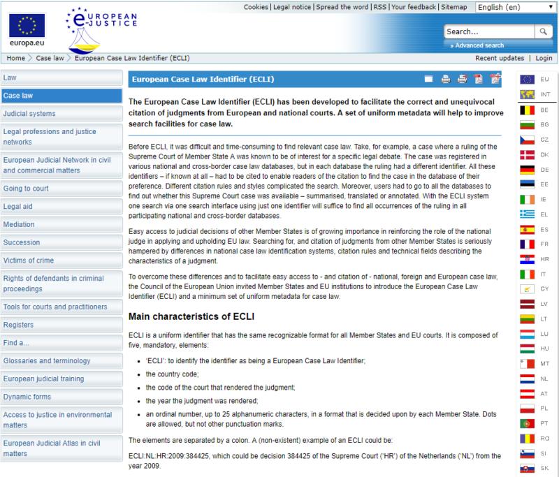 European Case Law Identifier (ECLI)
