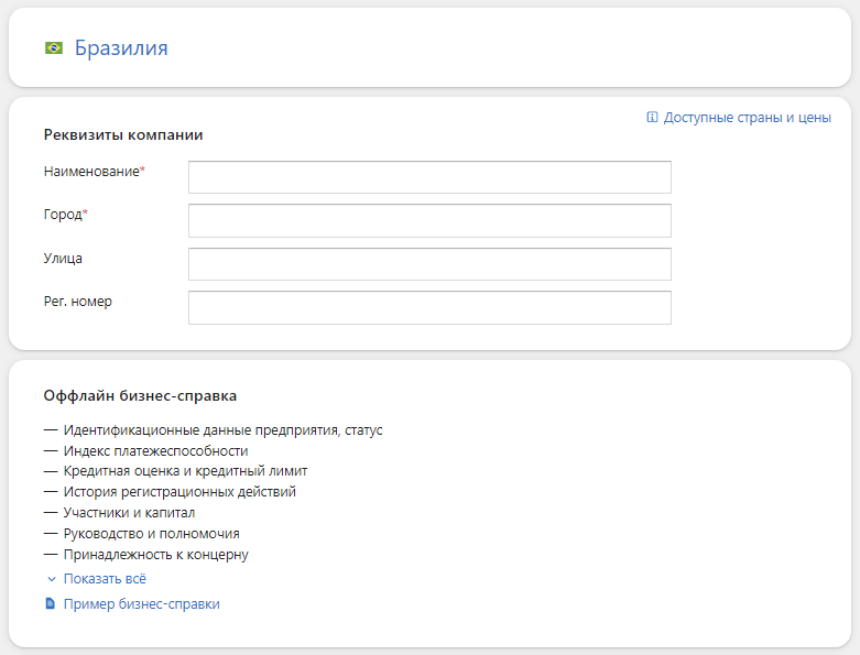 Проверка компании из Бразилии в Контур.Фокус