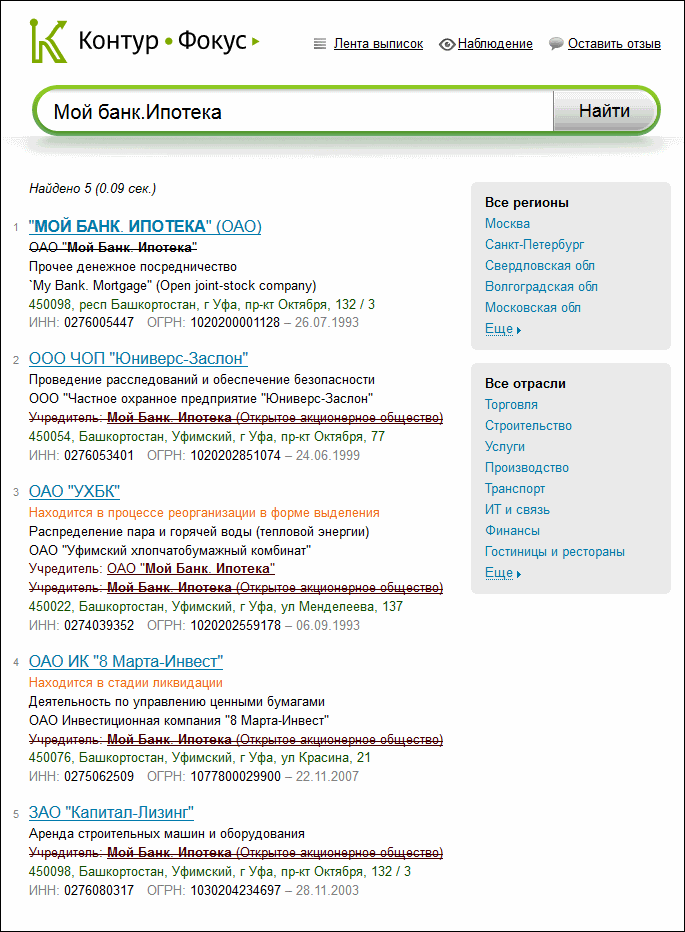 Результат поиска в Кнтур-Фокус