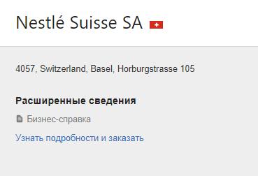 Карточка швейцарской компании
